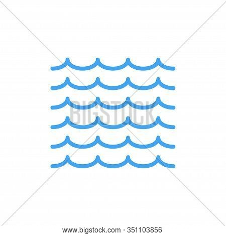 Waves Outlines Icon Isolated On White Background. Waves Blue Icon. Minimal Flat Design. Linear Wave