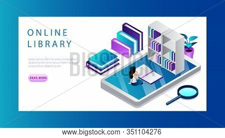 Isometric Online Library Concept. Technology And Literature. Website Landing Page. Tiny Cartoon Woma