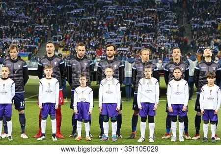 Kyiv, Ukraine - March 15, 2018: Ss Lazio Players Listen To Europa League Anthem Before Uefa Europa L
