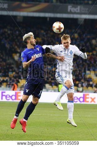 Kyiv, Ukraine - March 15, 2018: Vitaliy Buyalskiy Of Dynamo Kyiv (r) Fights For A Ball With Luis Alb