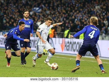 Kyiv, Ukraine - March 15, 2018: Junior Moraes Of Dynamo Kyiv (in White) Fights For A Ball With Ss La
