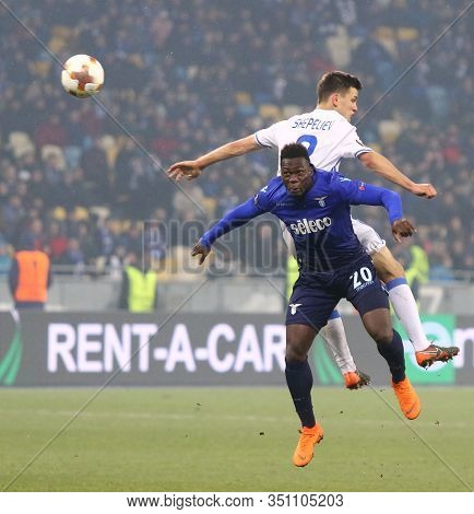 Kyiv, Ukraine - March 15, 2018: Felipe Caicedo Of Ss Lazio (#20) Fights For A Ball With Volodymyr Sh