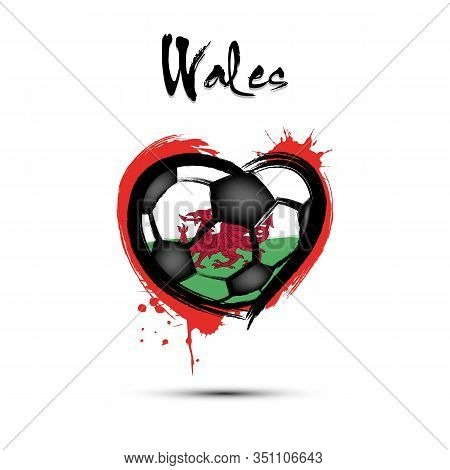 Abstract Soccer Ball Shaped As A Heart Painted In The Colors Of The Wales Flag. Flag Wales In The Fo
