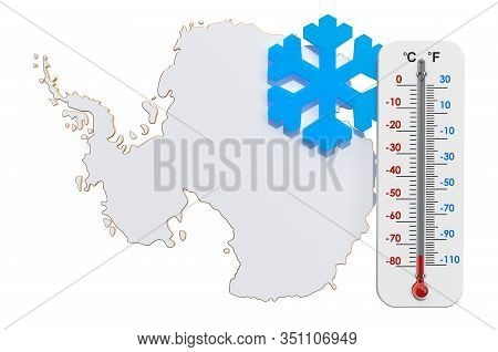 Antarcticas Coldest Temperatures, 3d Rendering Isolated On White Background