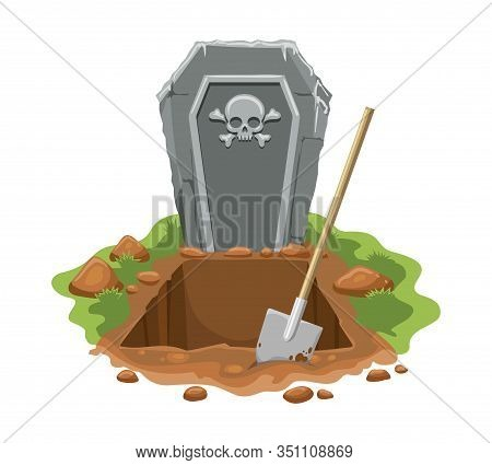 Cemetery Digged Grave Hole. Vector Burial Graves Ground With Gravestone With Skull And Gravedigger S