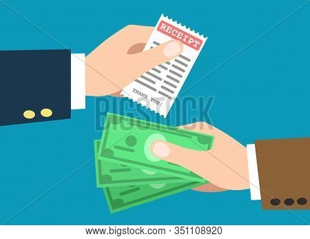 Hand Taking Payment. Retail Cash Paying, Hand Take Money And Give Check Receipt Flat Cartoon Vector