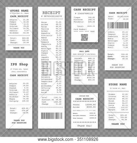 Cash Paper Receipt Isolated. Closeup Shop Tax Receipts Vector Illustration, Supermarket Shopping Che