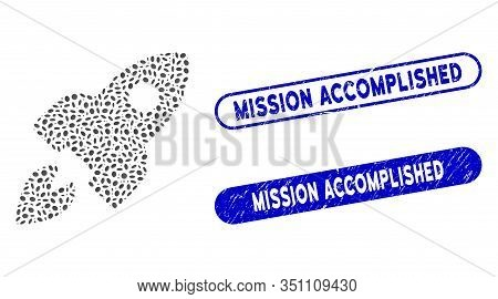 Mosaic Space Rocket And Grunge Stamp Seals With Mission Accomplished Phrase. Mosaic Vector Space Roc