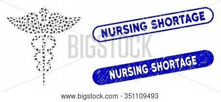 Mosaic Medicine Caduceus Symbol And Distressed Stamp Seals With Nursing Shortage Caption. Mosaic Vec