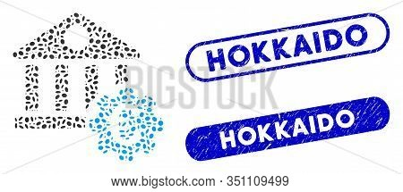 Mosaic Euro Bank Building Options And Rubber Stamp Seals With Hokkaido Text. Mosaic Vector Euro Bank