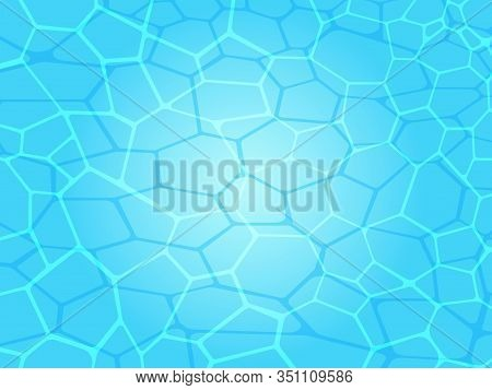 Swimming Pool Water Caustics Ripple With Sunlight Reflections Vector Illustration. Summer Background