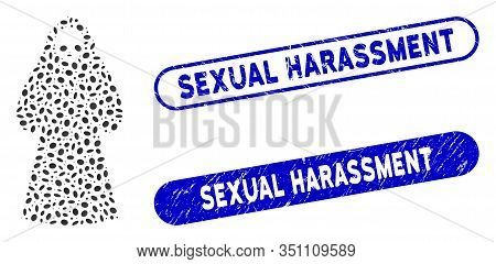 Mosaic Death Hood Man And Rubber Stamp Seals With Sexual Harassment Caption. Mosaic Vector Death Hoo