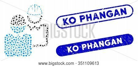 Mosaic Industrial Users And Grunge Stamp Seals With Ko Phangan Phrase. Mosaic Vector Industrial User