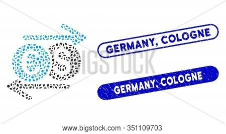 Collage Currency Exchange And Grunge Stamp Seals With Germany, Cologne Phrase. Mosaic Vector Currenc