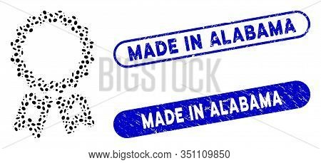 Mosaic Award And Grunge Stamp Seals With Made In Alabama Caption. Mosaic Vector Award Is Created Wit