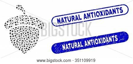 Mosaic Acorn And Grunge Stamp Seals With Natural Antioxidants Text. Mosaic Vector Acorn Is Designed