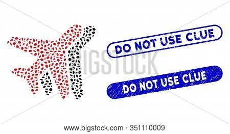 Mosaic Airplanes And Rubber Stamp Seals With Do Not Use Clue Text. Mosaic Vector Airplanes Is Compos