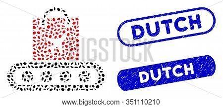 Mosaic Baggage Conveyor And Rubber Stamp Seals With Dutch Text. Mosaic Vector Baggage Conveyor Is De