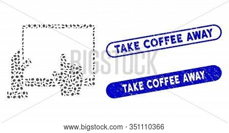Mosaic Hand Points Pda And Distressed Stamp Seals With Take Coffee Away Caption. Mosaic Vector Hand