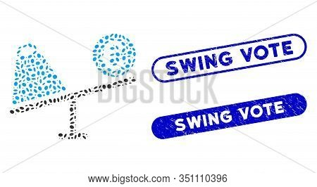 Mosaic Euro Trade Swing And Distressed Stamp Seals With Swing Vote Caption. Mosaic Vector Euro Trade