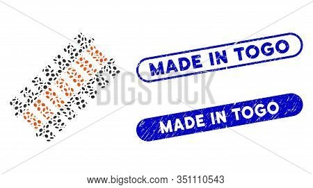 Mosaic Railroad Segment And Rubber Stamp Seals With Made In Togo Phrase. Mosaic Vector Railroad Segm