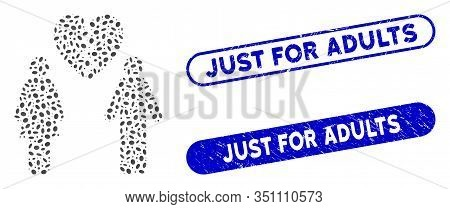 Mosaic Family Divorce And Grunge Stamp Seals With Just For Adults Phrase. Mosaic Vector Family Divor