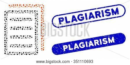 Mosaic Copy Document And Corroded Stamp Seals With Plagiarism Text. Mosaic Vector Copy Document Is C