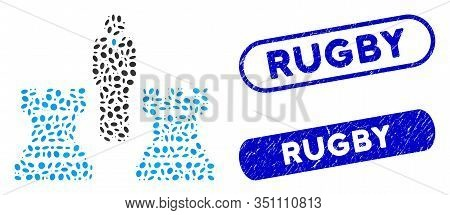 Mosaic Chess Strategy And Corroded Stamp Watermarks With Rugby Phrase. Mosaic Vector Chess Strategy