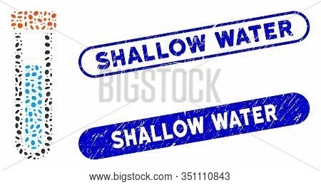 Mosaic Covered Test Tube And Corroded Stamp Seals With Shallow Water Caption. Mosaic Vector Covered