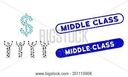 Mosaic Dollar Religion And Grunge Stamp Seals With Middle Class Text. Mosaic Vector Dollar Religion