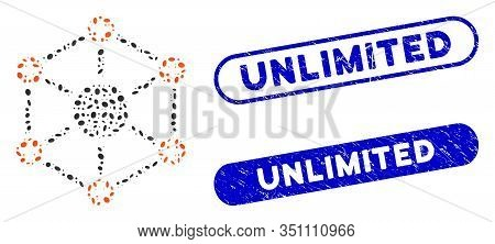 Mosaic Global Medical Network And Grunge Stamp Seals With Unlimited Text. Mosaic Vector Global Medic