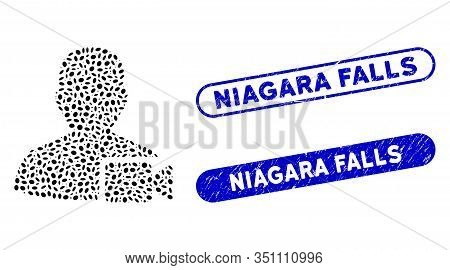 Mosaic User Video And Corroded Stamp Seals With Niagara Falls Text. Mosaic Vector User Video Is Comp