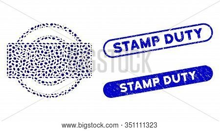 Mosaic Round And Rectangle Frame And Rubber Stamp Seals With Stamp Duty Caption. Mosaic Vector Round
