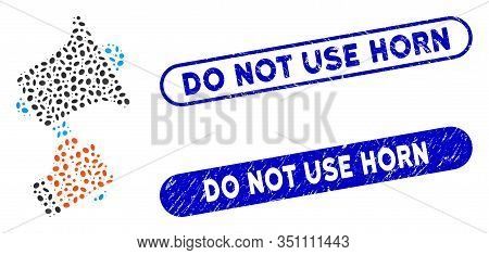 Mosaic Ads Horn And Rubber Stamp Watermarks With Do Not Use Horn Phrase. Mosaic Vector Ads Horn Is D