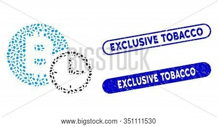 Mosaic Bitcoin Credit Clock And Rubber Stamp Seals With Exclusive Tobacco Text. Mosaic Vector Bitcoi