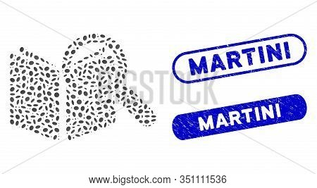 Mosaic Search Book And Rubber Stamp Seals With Martini Phrase. Mosaic Vector Search Book Is Formed W