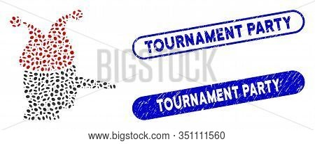 Mosaic Joker And Distressed Stamp Seals With Tournament Party Text. Mosaic Vector Joker Is Designed