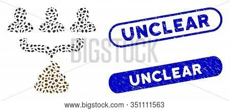 Mosaic Human Shit Aggregator Funnel And Rubber Stamp Watermarks With Unclear Caption. Mosaic Vector