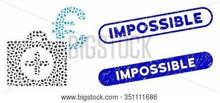 Mosaic Euro Medical Payment And Corroded Stamp Seals With Impossible Caption. Mosaic Vector Euro Med