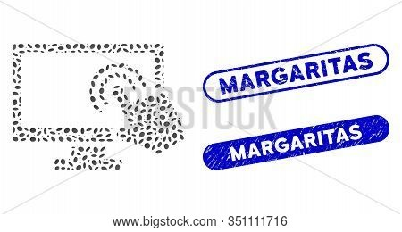 Mosaic Screen Double Tap And Grunge Stamp Watermarks With Margaritas Caption. Mosaic Vector Screen D