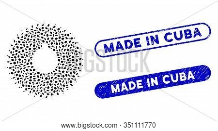 Collage Milling Cutter And Grunge Stamp Seals With Made In Cuba Text. Mosaic Vector Milling Cutter I