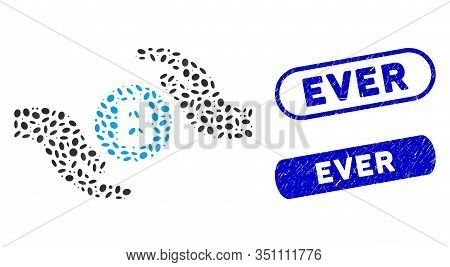 Mosaic Bitcoin Care Hands And Distressed Stamp Seals With Ever Text. Mosaic Vector Bitcoin Care Hand