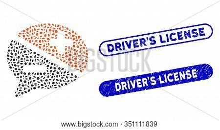 Mosaic Arguments And Corroded Stamp Seals With Drivers License Caption. Mosaic Vector Arguments Is C