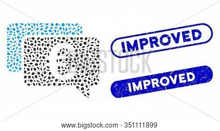 Collage Euro Messages And Distressed Stamp Seals With Improved Phrase. Mosaic Vector Euro Messages I