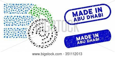 Mosaic Restore Database And Distressed Stamp Seals With Made In Abu Dhabi Phrase. Mosaic Vector Rest