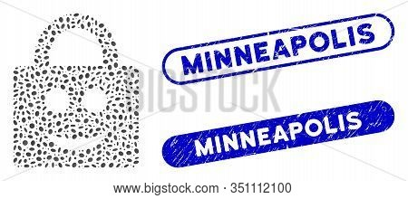 Mosaic Smiled Lock And Distressed Stamp Seals With Minneapolis Text. Mosaic Vector Smiled Lock Is Co