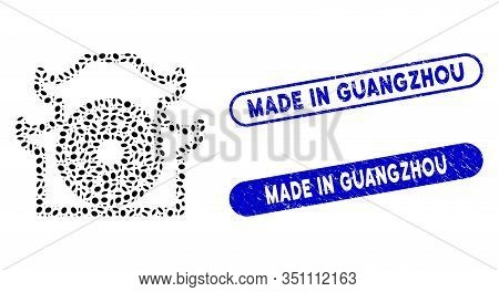 Mosaic Pagoda And Grunge Stamp Seals With Made In Guangzhou Caption. Mosaic Vector Pagoda Is Designe