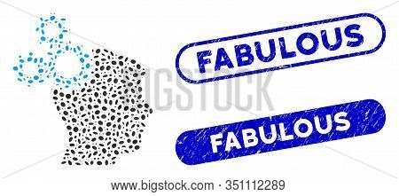 Mosaic Brain Gears And Rubber Stamp Seals With Fabulous Phrase. Mosaic Vector Brain Gears Is Designe