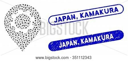 Mosaic Gear Marker And Rubber Stamp Seals With Japan, Kamakura Caption. Mosaic Vector Gear Marker Is