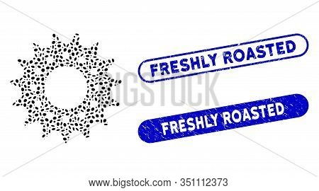 Mosaic Cog And Grunge Stamp Watermarks With Freshly Roasted Phrase. Mosaic Vector Cog Is Composed Wi